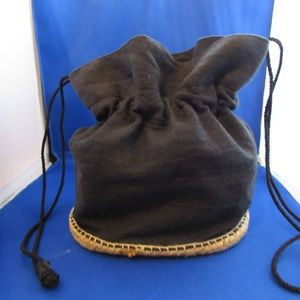 Donna Karan black linen drawstring bag espadrille